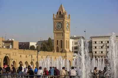 Clock Tower in Shar Park, Erbil, Kurdistan, Iraq, Middle East Photographic Print by Jane Sweeney