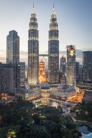 Petronas Towers and Klcc, Kuala Lumpur, Malaysia, Southeast Asia, Asia Photographic Print by Andrew Taylor