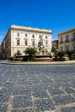 Fountain of Artemis in the Middle of the Roundabout at Archimedes Square (Piazza Archimede) Photographic Print by Matthew Williams-Ellis