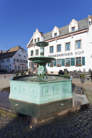 Andreasbrunnen Fountain and Deidesheimer Hof Hotel Photographic Print by Marcus Lange