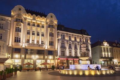 Hlavne Nam (Main Square) at Dusk, Bratislava, Slovakia, Europe Photographic Print by Ian Trower