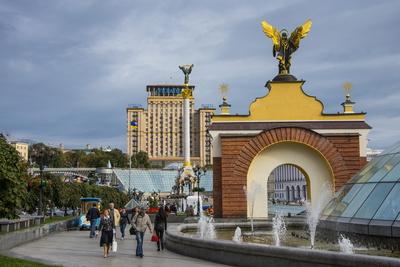 Maidan Nezalezhnosti, Center of Kiev, Ukraine, Europe Photographic Print by Michael Runkel