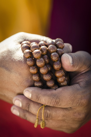 A Buddhist Monk Holds Prayer Beads (Japa Mala), Bodhnath, Nepal, Asia Photographic Print by Andrew Taylor