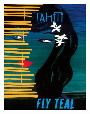 Tahiti - Fly Teal (Tasman Empire Airways Limited) Giclee Print by Arthur Thompson