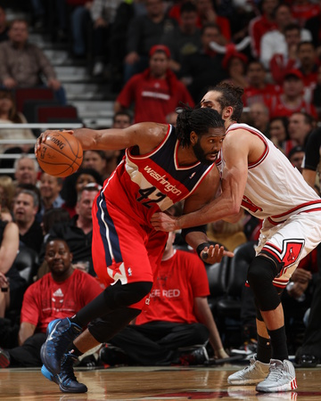 2014 NBA Playoffs Game 5: Apr 29, Washington Wizards vs Chicago Bulls - Nene Hilario Photo by Gary Dineen