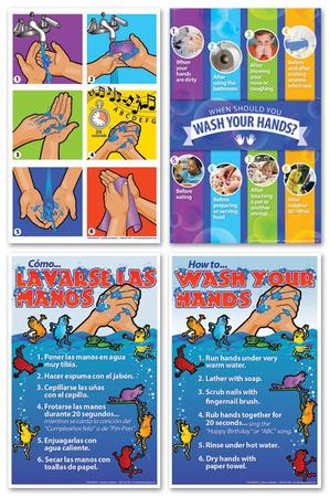 Hand Washing Poster Set of 4 Prints