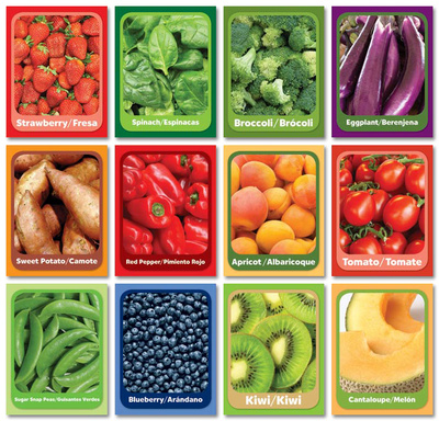 Fruit and Veggie Senses Cards - 12 Posters
