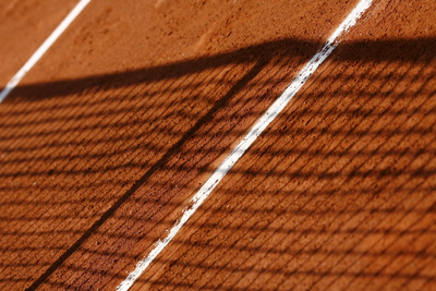 A Net Casts its Shadow on a Court at the French Open Tennis Tournament at Roland Garros in Paris Photographic Print by Philippe Perusseau