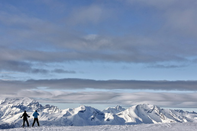 Skiers and Snowboarders Enjoy the Perfect Conditions Photographic Print by Alessandro Della Bella