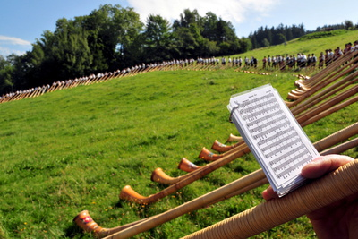 Hundreds of Alphorn Blowers Photographic Print by Stefan Puchner
