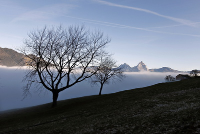 A Thick Layer of Fog Is at a Height of Metres Obscuring Lucerne Lake in Uri Photographic Print by Urs Flueeler