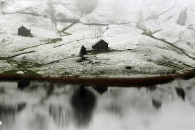 A First Wisp of Snow Covers the Landscape Near the Lake of Seelisberg in Central Switzerland Photographic Print by Urs Flueeler