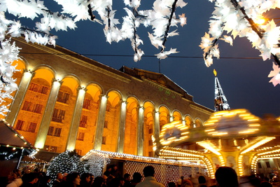 A Festive Activities in Front of the Parliament Building in Tbilisi Photographic Print by Zurab Kurtsikidze