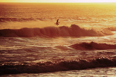 A Surfer Jumping Off His Board Photographic Print by Olivier Matthys