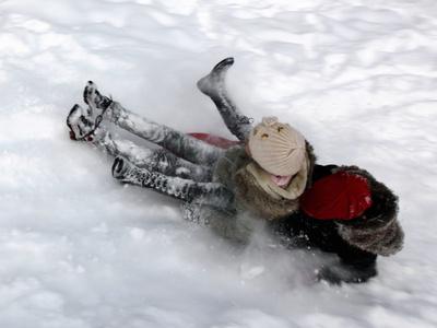 Romanian Children Dash Through the Snow on their Sledge at Titan Park Photographic Print by Robert Ghement