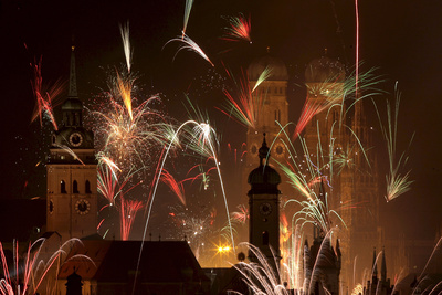 Photograph of Fireworks Illuminating the Sky over Munich, Germany on New Year's Eve