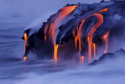 Viscous Lava from Kilauea Continues to Pour into the Ocean at Kalapana Photographic Print by Bruce Omori