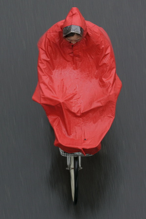 A Cyclist Rides in the Rain on a Street in Beijing Photographic Print by Michael Reynolds