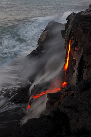 Lava Pours over a Meter High Cliff into the Sea at the Newly Created Kupapa'U Ocean Entry Photographic Print by Bruce Omori