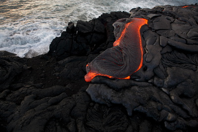 Lava Ponds Near the Top of a Sea Cliff at the Newly Created Kupapa'U Ocean Entry Photographic Print by Bruce Omori