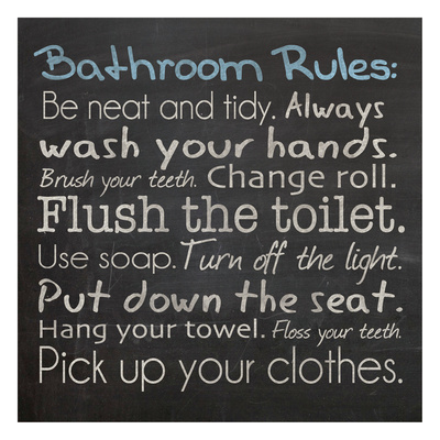 Bathroom Rules bathroom wall decor artwork by Lauren Gibbons