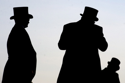 Gentlemen Racegoers are Silhouetted by Midday Sun Ahead of the Derby at Epsom Racecourse Photographic Print by Alan Crowhurst