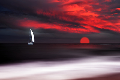 White sailboat and red sunset Fotoprint van Philippe Sainte-Laudy