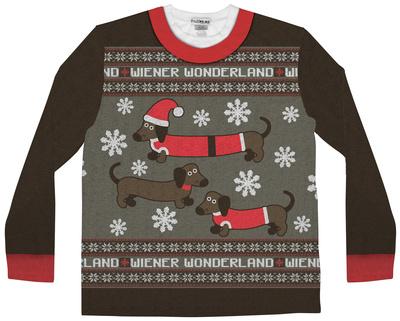 Long Sleeve: Wiener Wonderland Ugly Xmas Sweater Costume Tee Long Sleeves