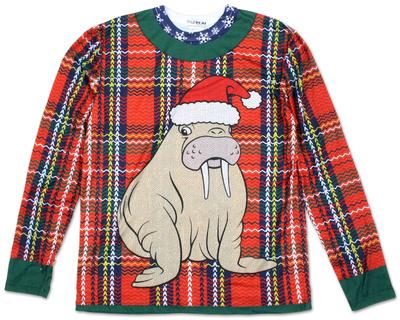 Long Sleeve: Plaid Walrus Ugly Xmas Sweater Costume Tee Long Sleeves