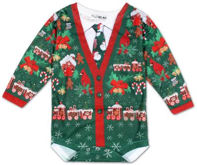 Infant: Ugly Xmas Cardigan Long Sleeve Romper Infant Onesie