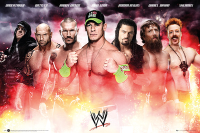WWE collage of contemporary wrestlers featuring John Cena in center, wrestling photo poster
