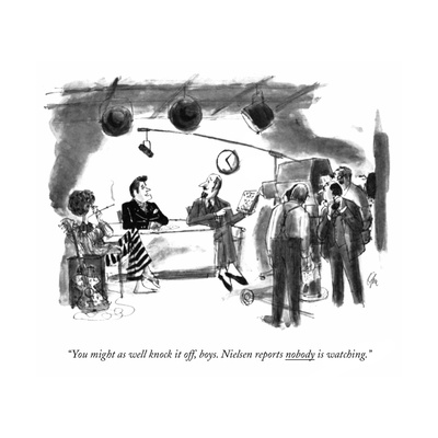 """You might as well knock it off, boys. Nielsen reports nobody is watching. - New Yorker Cartoon Giclee Print by Everett Opie"