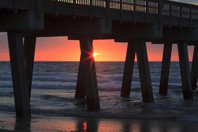 USA, Georgia, Tybee Island, Tybee Pier at sunrise. Photographic Print by Joanne Wells