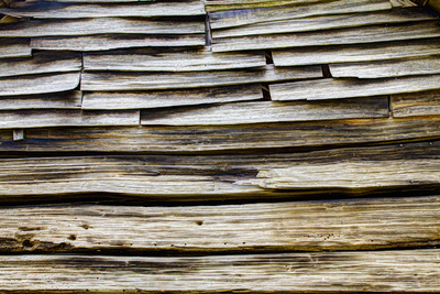 USA, Tennessee, Wood on old cabin in Great Smokey Mountains NP. Photographic Print by Joanne Wells