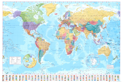 World map art poster cubicle decor office decorating ideas for the modern office