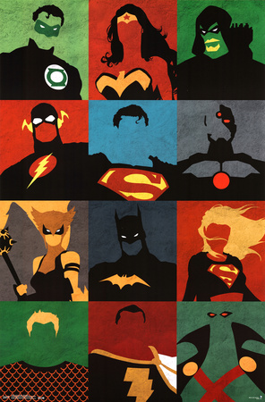 Justice League minimalist superhero comic book poster