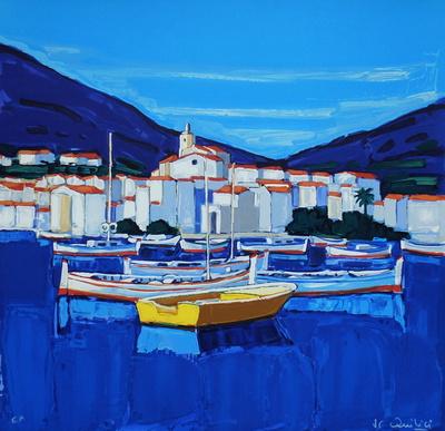 Espagne Cadaquès : barques Samlertryk af Jean Claude Quilici