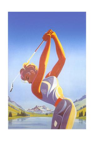 Barbie Playing Golf Prints