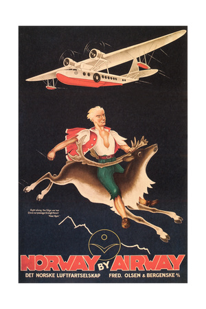Norway Travel Poster, Man on Caribou Posters