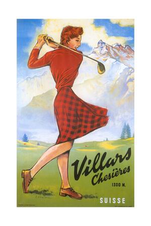 Golfing in Switzerland Prints