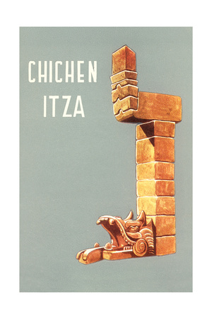 Chichen Itza, Mexican Travel Poster Poster