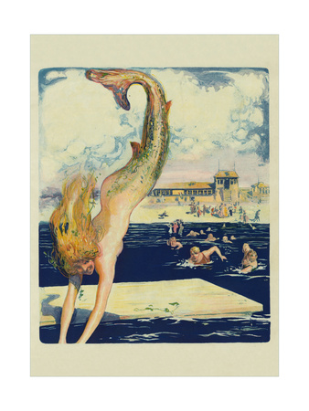 Diving Mermaid Print
