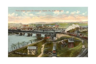Three Bridges across Delaware, Easton Print