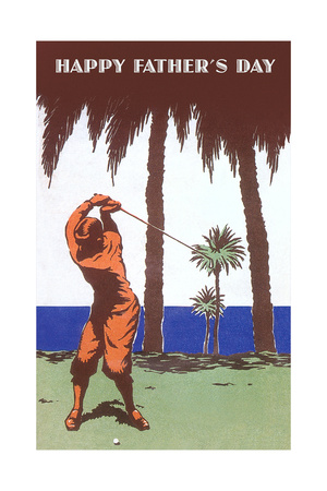 Golfer Amid Palm Trees Prints