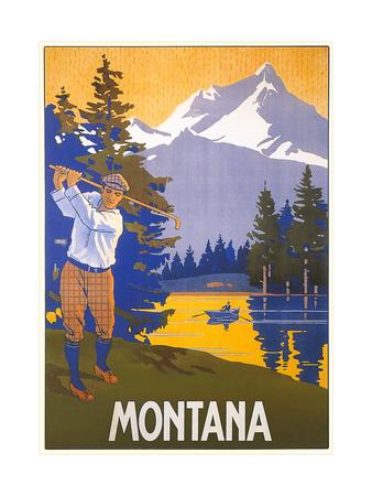 Golfing in Montana Art