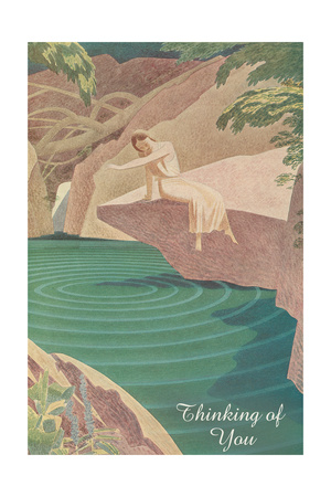 Thinking of You, Woman by Pond Print