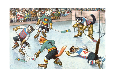 Cartoon Cats Playing Ice Hockey Poster