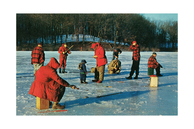 Ice Fishing in Red Art