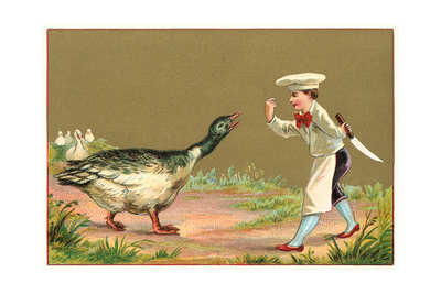 Little Chef Luring Goose Prints