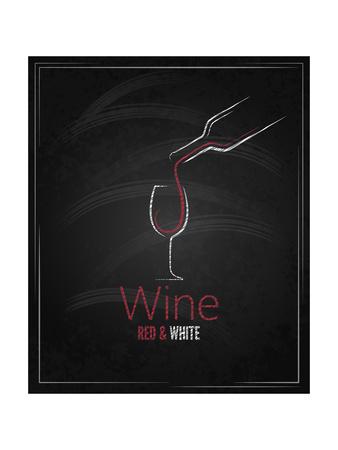 Wine Glass Chalkboard Menu Background Prints by  Pushkarevskyy